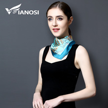 [VIANOSI] Spring Small Square Silk Scarf Women Brand Foulard NeckerChief Fashion Bandana Silk Scarves Office Lady Gift VA117