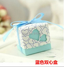 Free shipping 100pcs Light Blue Heart Wedding Favor Candy Boxes with Ribbon Baby Shower Paper FAVOUR box gifts chocolate box(China)