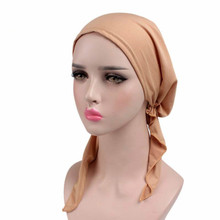 2017 New women plain headscarf Head wrap scarves Chemo cap turban spandex Ladies Casual Floral Headwrap(China)