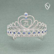 Sweet 21st Birthday Crown Rhinestone Tiara Party Hats Girls Hair Accessories Prom Head Jewelry Bday Decorations with Combs(China)