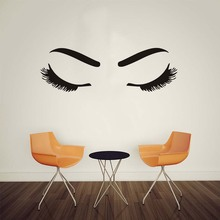 Beautiful Girl'S Eyelash And Eyebrow Make Up Beauty Salon Barbershop Wall Sticker Window Diy Fashionable Home Decor Living Room