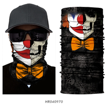 3D Seamless Headband Joker Clown Skeleton Skull Neck Scarf Warmer Face Mask Cycling Hunting Outdoor Halloween Balaclava Bandana