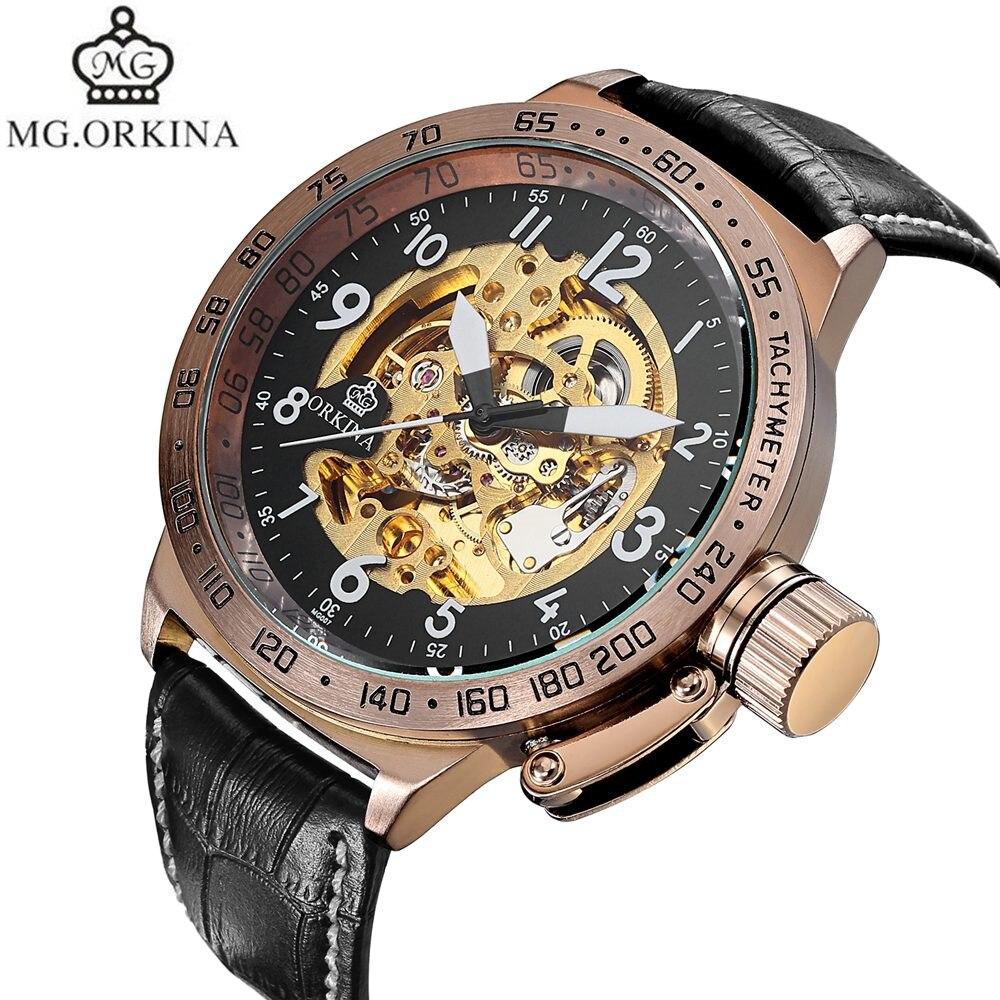 2017 MG.Orkina Fashion Mens Skeleton Auto Mechanical Watch Wristwatches Box Free Ship<br>