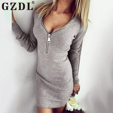 Buy GZDL Sexy Dress Women Deep V Zipper Long Sleeve Knitted Sweater Spring Autumn Bodycon Dress Mini Party Dresses Vestidos CL2337 for $8.09 in AliExpress store