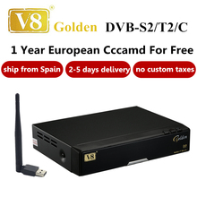 Freesat V8 Golden COMBO IPTV Satellite Receiver with 1 year Europe cccams server Support DVB-S2/T2/C Twin Tuner For Spain Italy(China)