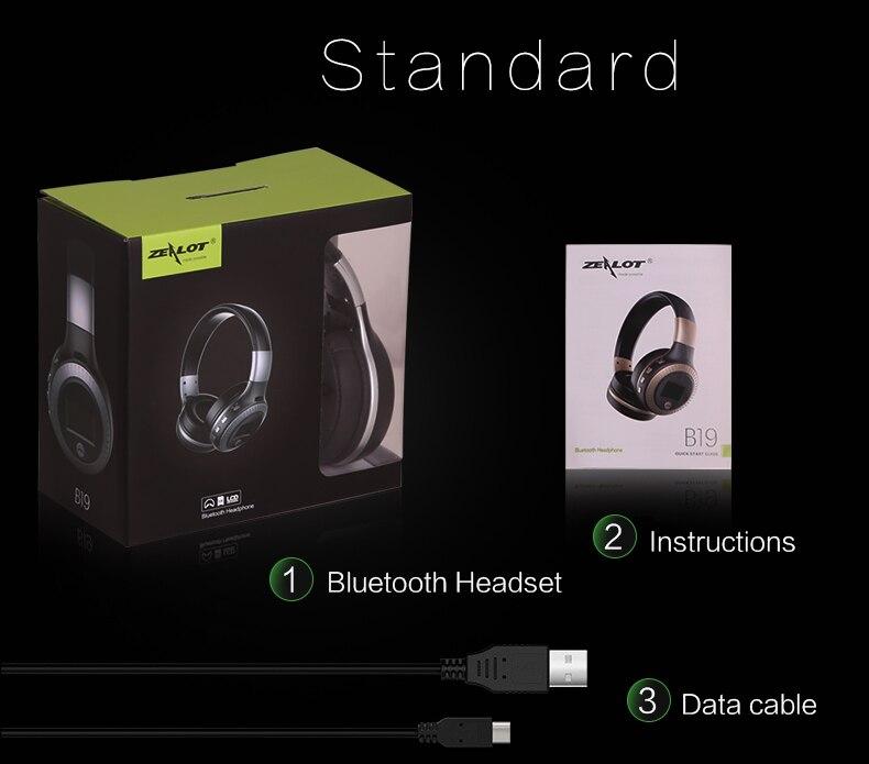 Zealot B19 Wireless Headphones LCD Display Screen HiFi Bass Stereo Earphone Bluetooth Headset with Mic + FM Radio + TF Card Slot 25