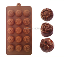 1PCS Three Kinds Of Flowers Shape Silicone Chocolate Mold , Ice, Cupcake, Lollipop,& Sugar Tool L067
