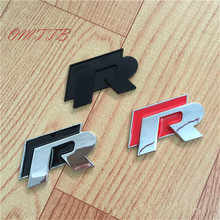 1 pc 3D Chrome R R line Badge logo Emblem Rline Car stickers Racing for VW Golf 5 6 7 Touareg Tiguan Passat B6 B7 Jetta Sharan(China)