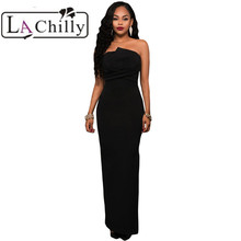 La Chilly summer bodycon Dresses party Autumn dress Elegant 2017 Formal Evening Black Origami Top Strapless Maxi Dress long Gown