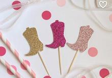 Glitter boots Cupcake Toppers Cowgirl/Cowboy/Western/Country themed Birthday/Shower/Party food picks