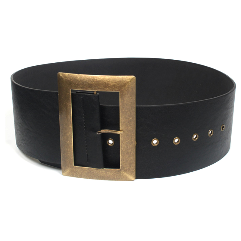 New Women Wide Belts Retro metal buckle Decorated Fashion PU leather belt For Women Dress Down Skirt Waist Female Belt