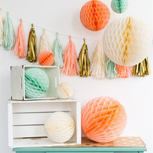 10pcs 15cm(6inch) Tissue Paper Flower Ball Hanging Honeycomb Lantern Married Wedding Decoration Holiday Party Supplies Wholesale(China)