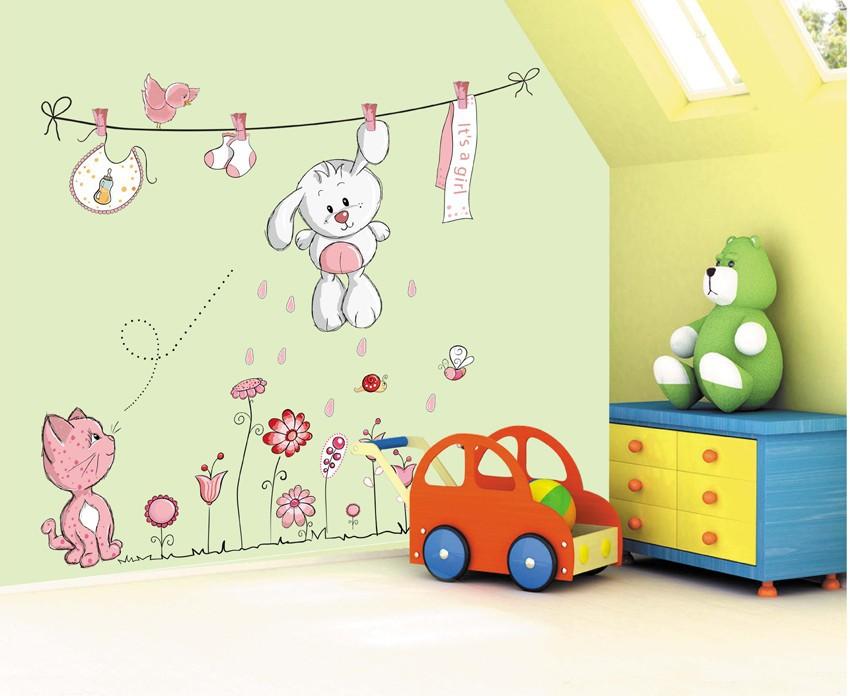 HTB1z.GqkOqAXuNjy1Xdq6yYcVXa1 - Pink Cartoon Cat Rabbit Flower Wall Sticker For Baby Girls Kids Rooms