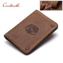 CONTACT'S 2017 Men Wallets Brand Design Crazy Horse Cowhide Leather Male Clutch Wallets Coins Purse Photo Holder Card Holders(China)