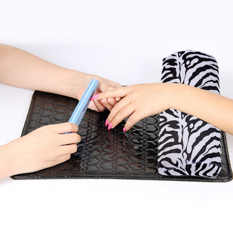 free shipping New Soft Zebra Stripe Hand Rest Cushion Pillow Nail Art Design Equipment Manicure Half Column Sponge Tools GYH(China)