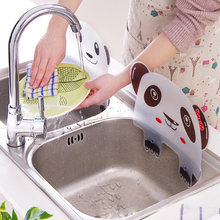 Cute panda shape sink water splash pool impermeable baffle plate gadget suction cups rack kitchen accessories plastic shelf