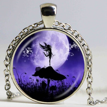 Angel Fairy Silhouette Necklace Snail,Mushroom,Photo Pendant Full Moon Jewelry Glass Dome Pendant Fashion Accessories Jewellery