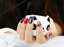 1 Set = Nail Patch+ Nail File +Remover Pads Red Blue Cat Nail Art Water Transfer Full DIY Nail Stickers Decorations for Manicure