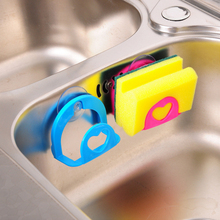 Wall Mounted Suction Type Storage Box Holder Love Heart Kitchen Tool Sponge Shelf Rack Small Plastic Storage Container Organizer