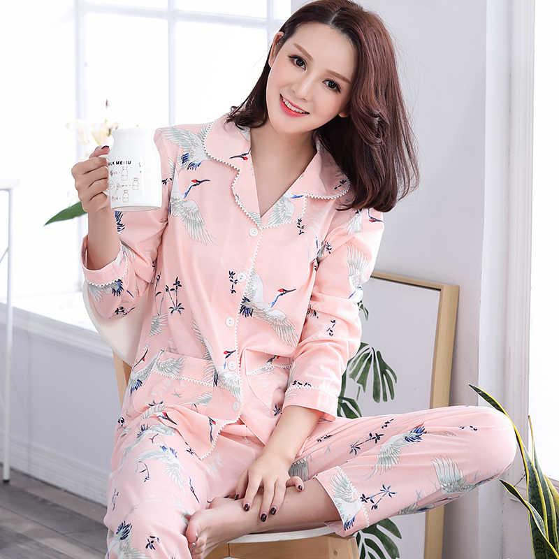 Осенние пижамные комплекты с длинным рукавом пижамы 100% хлопок v-образный  вырез милые животные e9375908fe14e