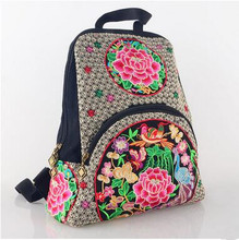 New Coming women's Backpacks!Hot Multi Floral Embroidery Lady's Multi-use Shopping Backpack comfortable National Canvas Carrier