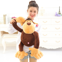 Aeruiy soft plush big mouth brown monkey toy doll,stuffed gibbon monkey gorilla,creative birthday & education gift for children(China)