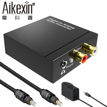 Aikexin DAC Digital to Analog Audio Converter Optical Coax to RCA R/L 3.5mm Adapter with 3.5 mm Jack out with optical cable(China)