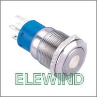 ELEWIND 19mm White Dot illuminated Latching push button(PM192F-22ZD/W/12V/S)
