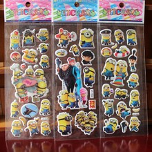 & 10 sheets/lot 3d Cartoon minions movie Kids Stickers Toys Bubble stickers Teacher Lovely Reward Stickers kids gift adhesive(China)