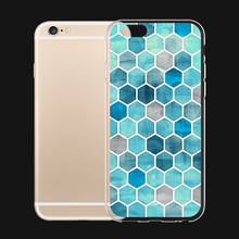 Sky Blue Diamonds Relief Pattern For iPhone 6 6s 7 Plus Case TPU Phone Cases Cover Mobile Protection Decor Gift