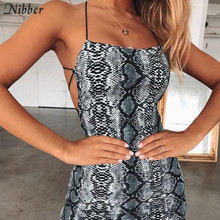 Buy Nibber Summer Dress Sexy Cross Bandage Backless Bodycon Dress Women Sleeveless Halter Snake Print Short Party Casual Mini Dress