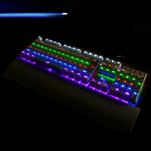 USB Gaming Teclado Mecanico LED Backlight Mechanical Keyboard Multimedia Luminous Keycaps with Removable Rest Tray for Computer