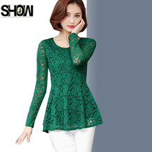 Crochet Lace Top Korean Women Fashion Casual Blouses Shirts Ladies Office Work Peplum Tops Black Green White Lace Blouse 3XL(China)