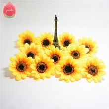 10pcs Large Silk Sunflower Handmade Artificial Flowers Head For Wedding Box Decoration DIY Garland Decorative Floristry Flowers(China)