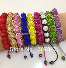 2PCS/LOT 10mm Gem Clay Beads Bracelets rhinestone Crystal Bracelets Shamballa Bracelets Bs7135A