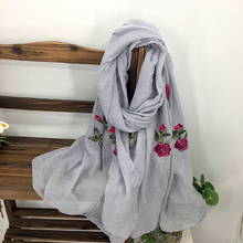 Brand Design Fashionable Floral Embroidered Scarves Pashmina for Women Autumn Winter Oversized Warm Flower Shawls and Wraps(China)