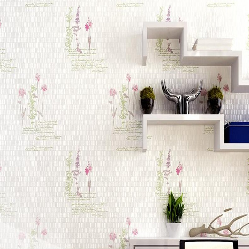 Free Shipping Romantic flowers non-woven bedroom full floor wallpaper coffee shop apartment light green letter wallpaper<br>