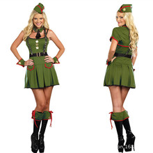 Lady New Sexy Halloween Costume Girls Night Clube Clothing Green Army Dress Cosplay Costume Role-playing Dress B-3979