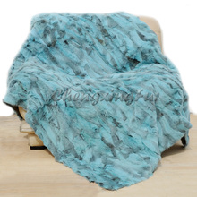 CX-D-11N Hot Selling Bedding Decorative Genuine Rabbit Fur Throw(China)