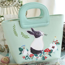 Vintage Embroidery Bag Green Rabbit Mori Girl Hobos Fairy Tale Bags Leather PU Women's Handbags Messenger Bags Top-Handle Totes