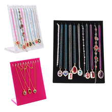 11 Hook L-type Velvet Necklace Display ShowCase Holder Women Ladies Jewelry Organizer Necklaces Display Stand #86004