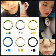 Buy 1PC G23 Titanium Hinged Segment Nose Septum Clicker Ring Ear Cartilage Piercing Lip Rings Body Jewelry Sexy Girls 16g&14g for $1.29 in AliExpress store