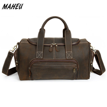 Men Vintage genuine leather Travel bag Red Zip-Around Brown Real Leather Travel Duffle business tote bag Cowhide Boston Bag(China)