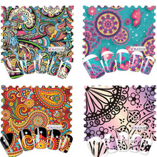 1 Sheets Hot Designs Retro Colorful Artistical Printing Full Wraps Nail Art Sticker Water Transfer Manicure BLE2535-2564