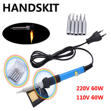 60W  220V EU Electric Adjustable Temperature Welding Solder Soldering Iron with 5pcs Iron Tips + stand
