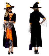 Sexy Adult Witch Costume Halloween party women fancy orange dress Deluxe Adult Womens Magic Moment Costume