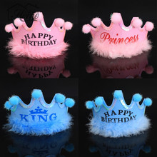 King Princess Crown Hat Happy Birthday Cap Party Decorations Boys Girls Baby Kids New Year Gifts Photography Props Party Favor