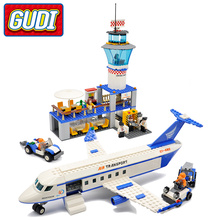 GUDI City International Airport Blocks 652pcs Bricks Building Block Sets Educational Toys For Children(China)