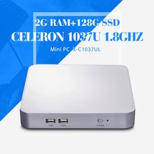 2*LAN Mini computer C1037U 2g ram 128g ssd mini desktop computer embedded pc windows 7 thin client with 32 bit(China)