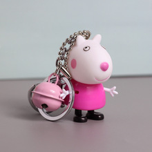 Rubber Cute Pig Cartoon Doll Keychain With Bell Strap Key Chains For Car Bag Pendant Keyring Key Holder Kawaii Gift Present